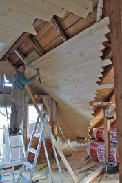 Gigi's boys boarding out the attic