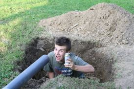 Rob taking a break from his hole-digging duties