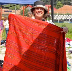 Louise finds a bargain in the piles of textiles
