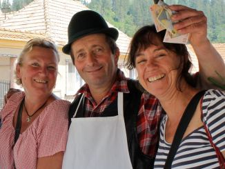 Jane and Louise make the cheese man's day