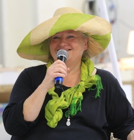 AMB at Bookfest green hat
