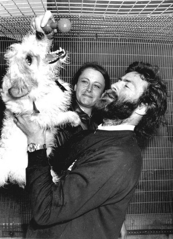 Sir Ranulph his wife Virginia and their dog Bothy